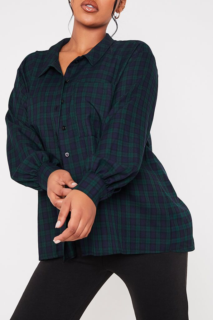 Green Woven Check Button Front Dipped Hem Shirt view 5
