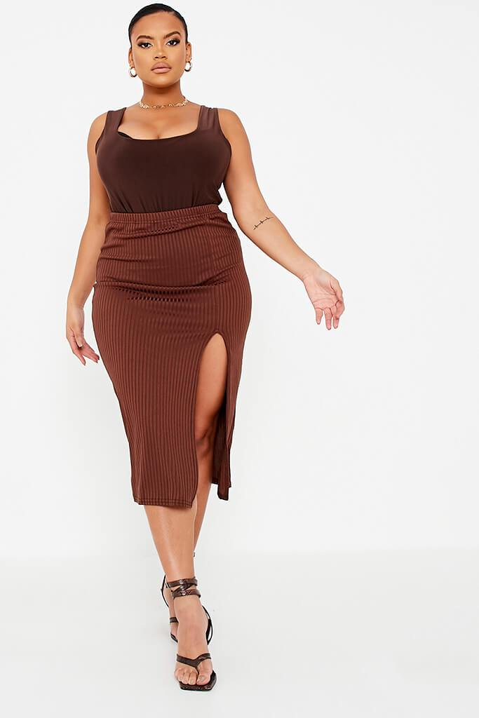 Chocolate Plus Size Double Layer Slinky Square Neck Bodysuit view 2