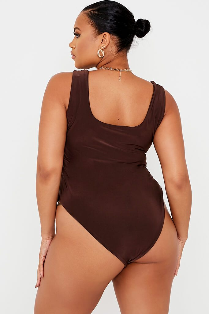 Chocolate Plus Size Double Layer Slinky Square Neck Bodysuit view 5