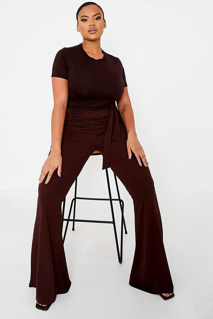 Chocolate Plus Size Rib Tie Waist Flare Trouser view main view