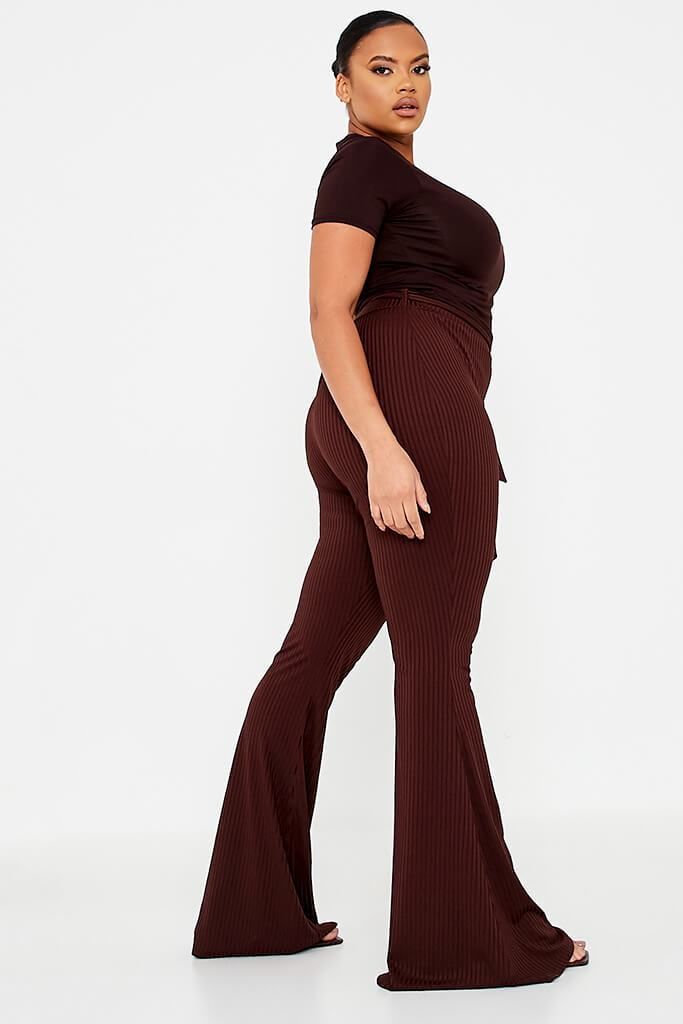 Chocolate Plus Size Rib Tie Waist Flare Trouser view 3