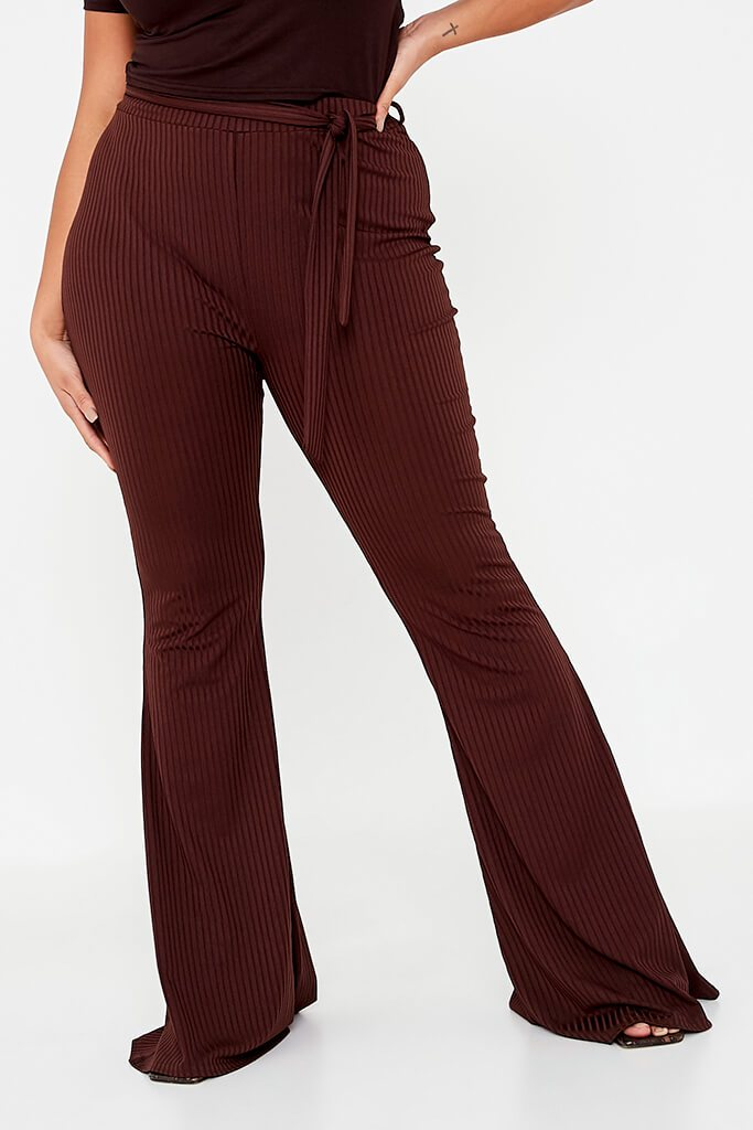 Chocolate Plus Size Rib Tie Waist Flare Trouser view 2