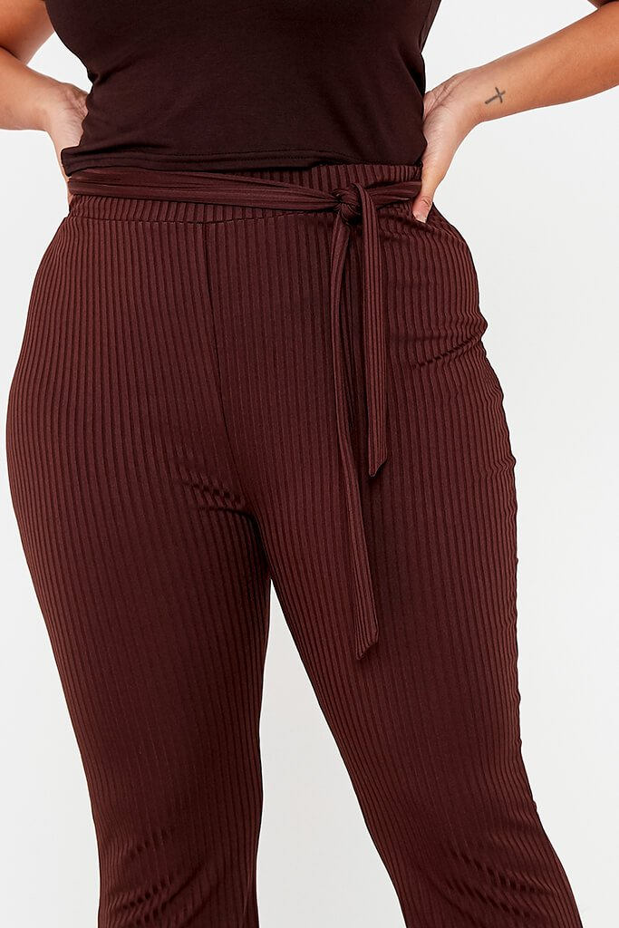 Chocolate Plus Size Rib Tie Waist Flare Trouser view 5