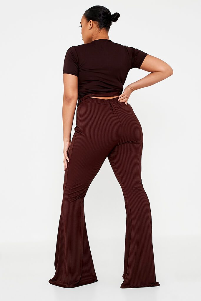 Chocolate Plus Size Rib Tie Waist Flare Trouser view 4