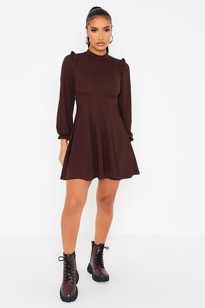 Chocolate Ribbed High Neck Balloon Sleeve Swing Dress view 2