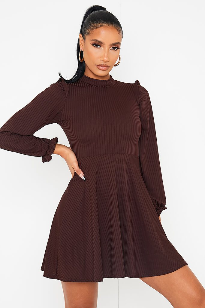 Chocolate Ribbed High Neck Balloon Sleeve Swing Dress