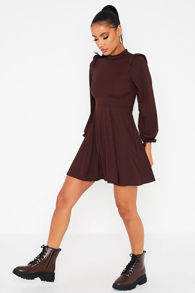 Chocolate Ribbed High Neck Balloon Sleeve Swing Dress view 3