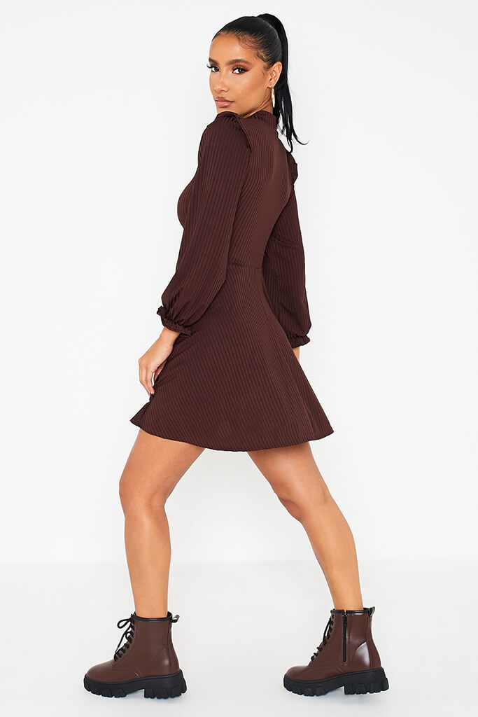 Chocolate Ribbed High Neck Balloon Sleeve Swing Dress view 4