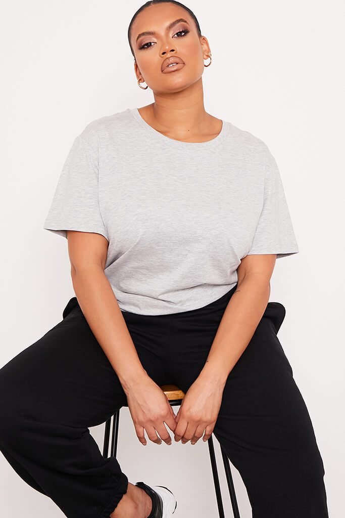 Grey Marl Plus Size Cotton Oversized T Shirt view main view