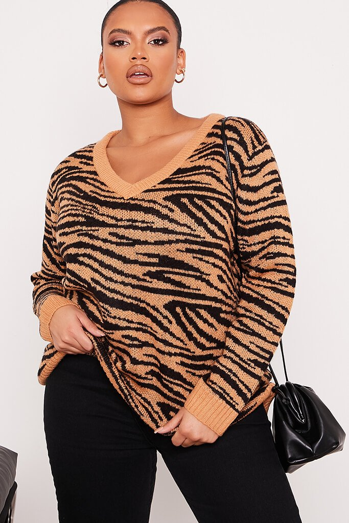Camel Plus Size Zebra V-Neck Knitted Jumper view main view