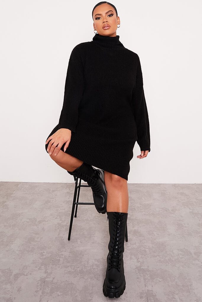 Black Plus Size Knitted Roll Neck Jumper Dress view 2
