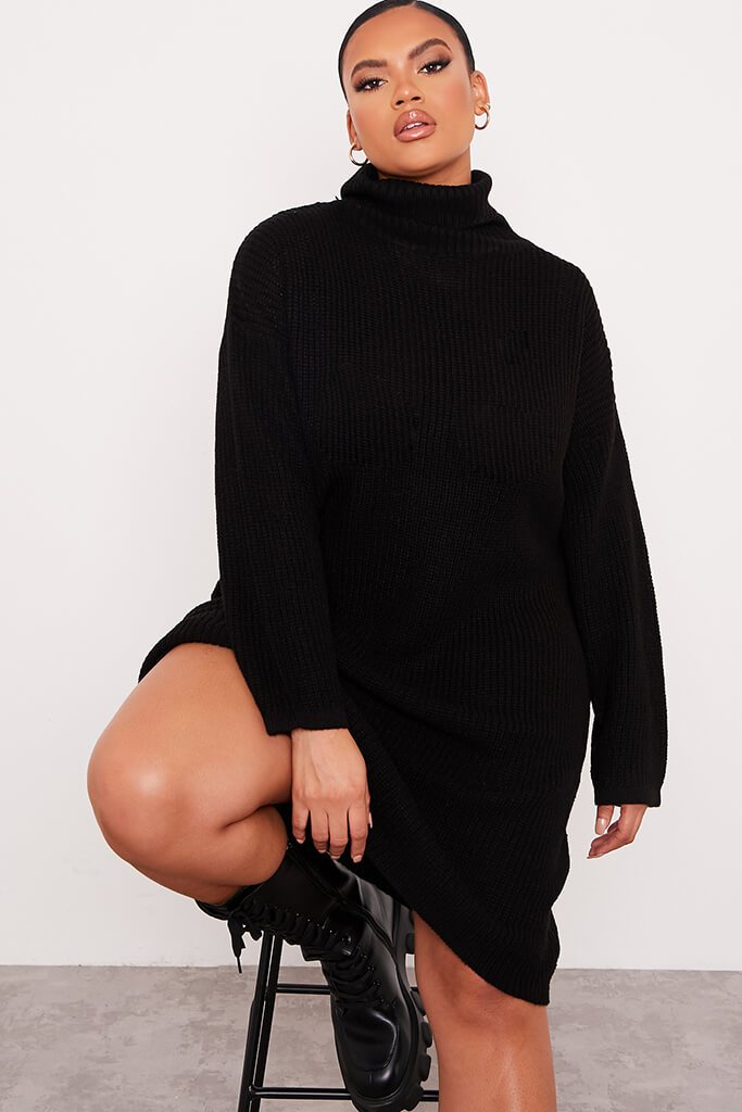 Black Plus Size Knitted Roll Neck Jumper Dress