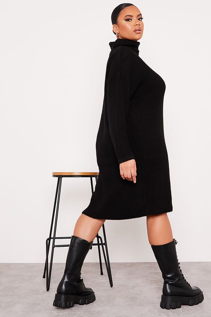 Black Plus Size Knitted Roll Neck Jumper Dress view 3