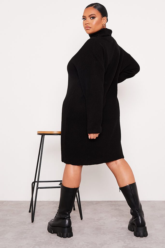 Black Plus Size Knitted Roll Neck Jumper Dress view 4