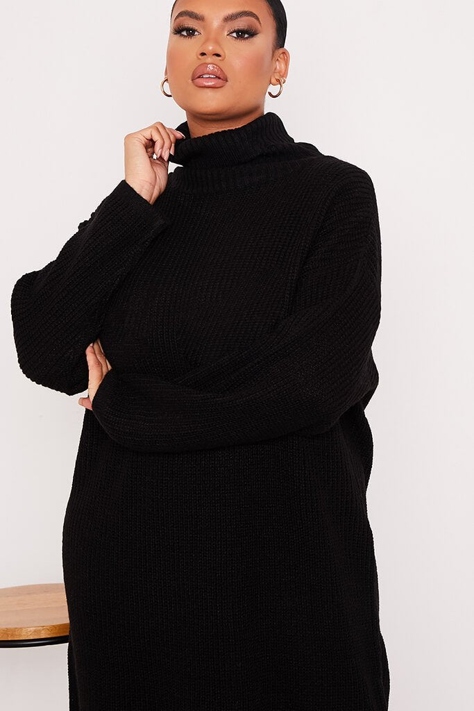 Black Plus Size Knitted Roll Neck Jumper Dress view 5