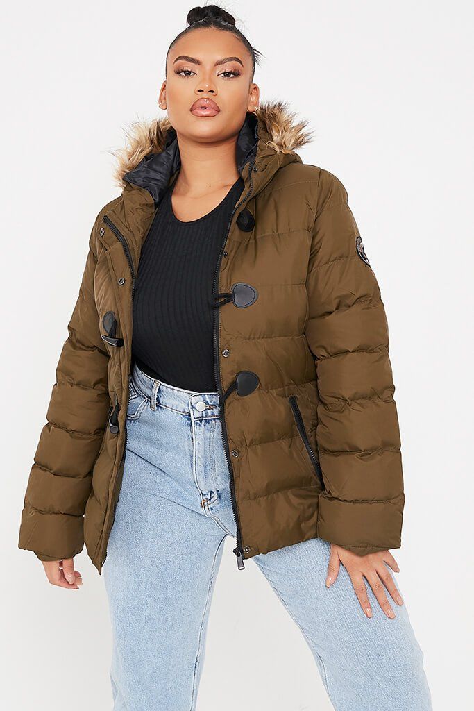 Khaki Plus Size Padded Jacket With Faux Fur Hood