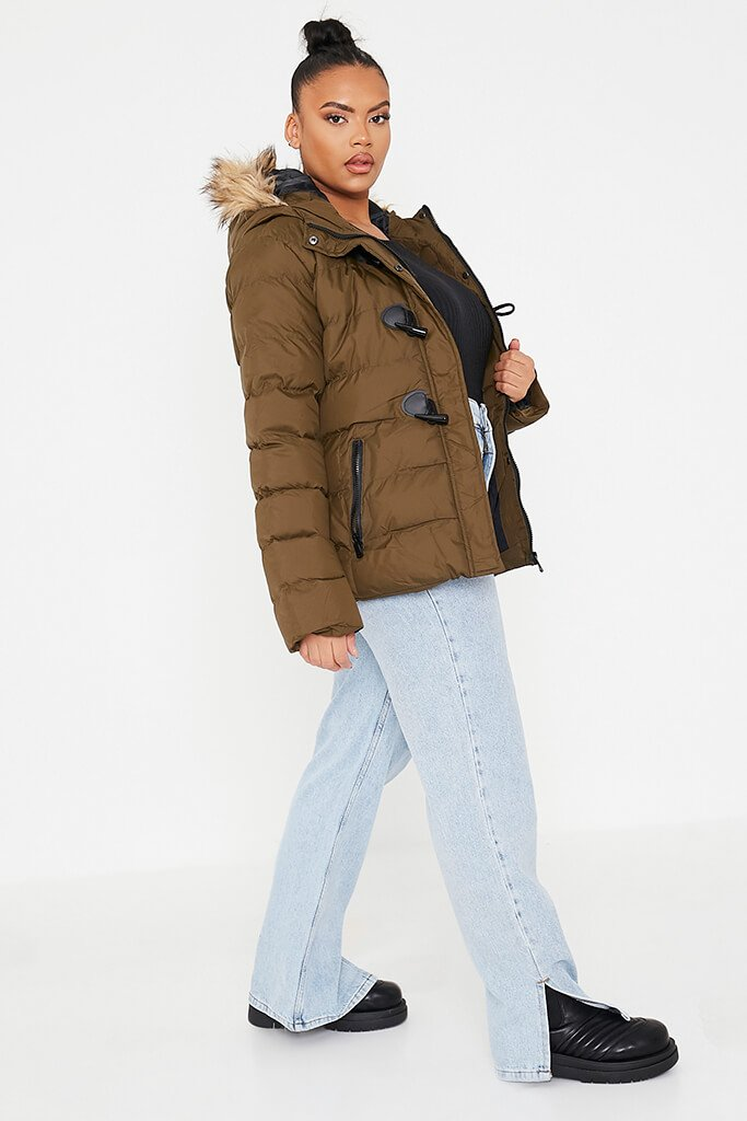 Khaki Plus Size Padded Jacket With Faux Fur Hood view 4