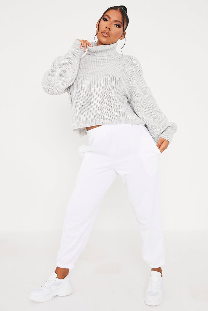 Light Grey Balloon Sleeve Roll Neck Knitted Jumper view 2