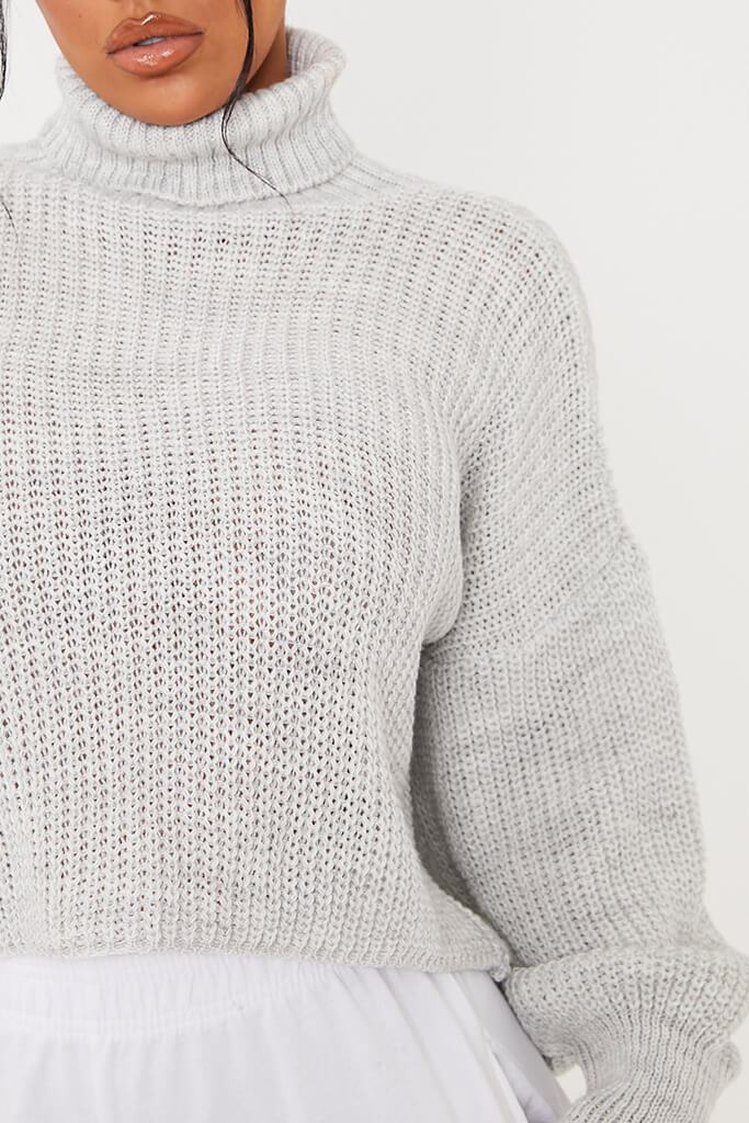 Light Grey Balloon Sleeve Roll Neck Knitted Jumper view 5
