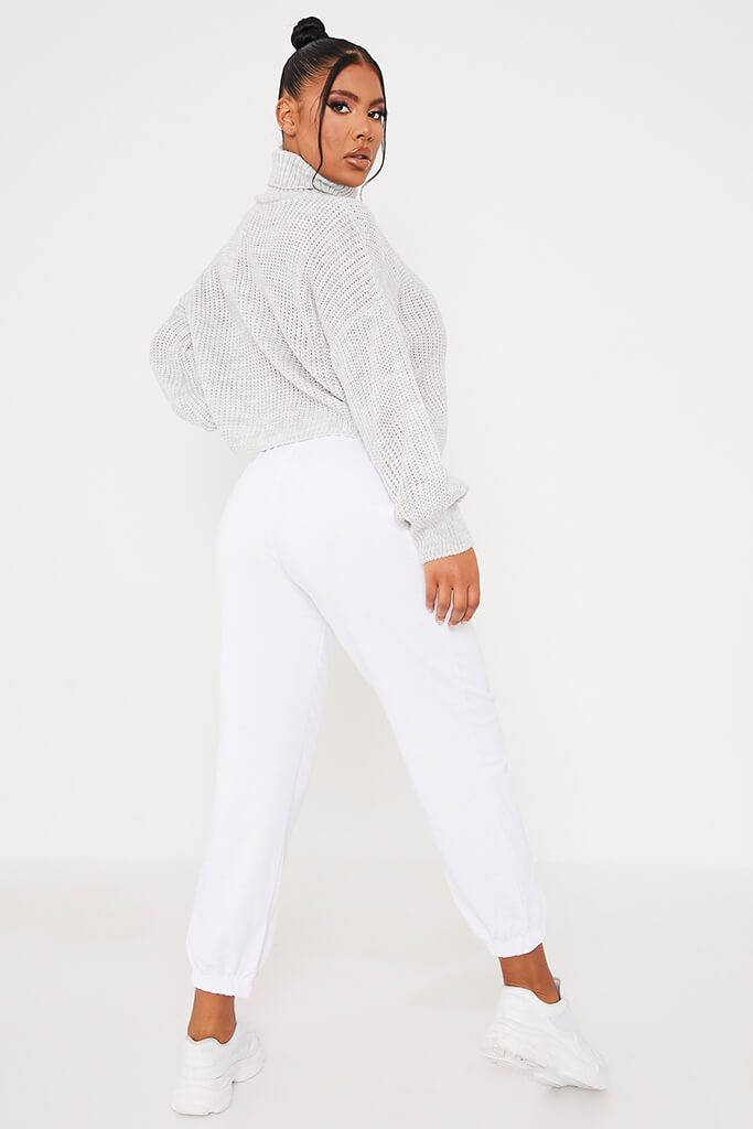 Light Grey Balloon Sleeve Roll Neck Knitted Jumper view 4