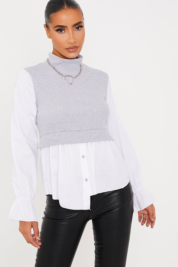 Grey Ribbed High Neck Top With Contrast Sleeve