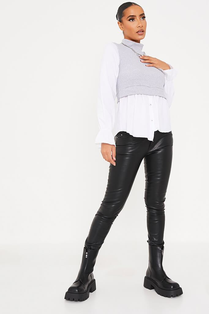 Grey Ribbed High Neck Top With Contrast Sleeve view 2