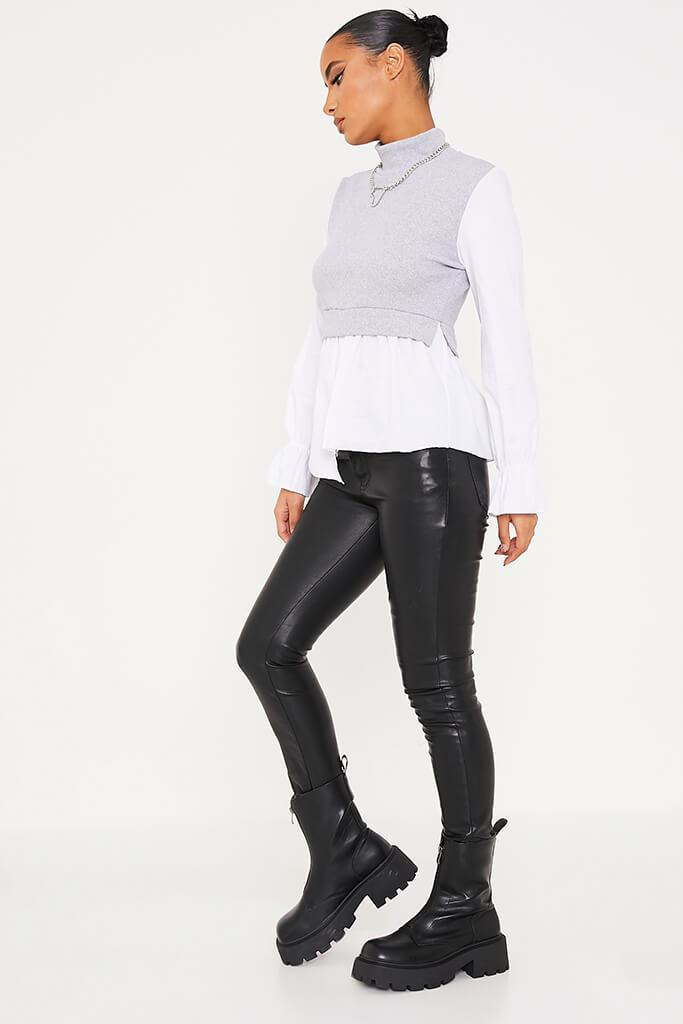 Grey Ribbed High Neck Top With Contrast Sleeve view 3
