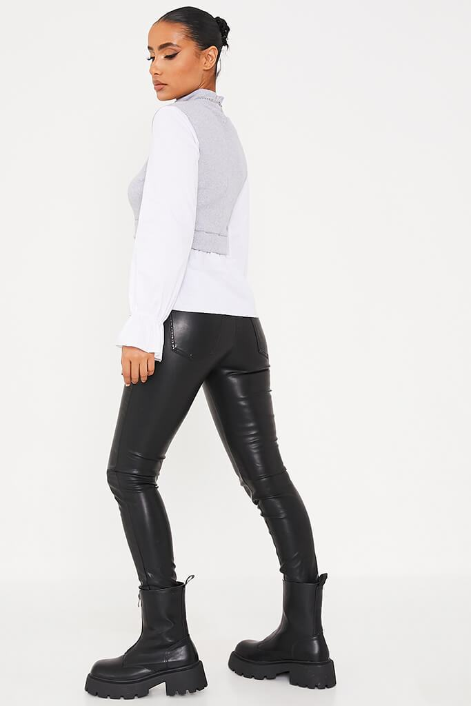 Grey Ribbed High Neck Top With Contrast Sleeve view 4