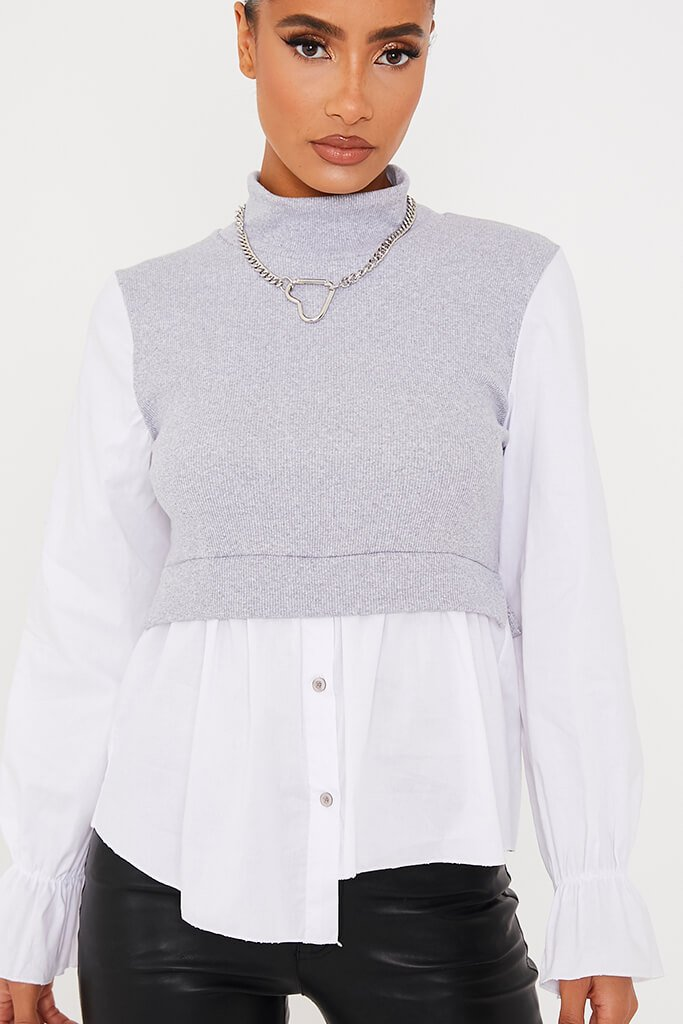 Grey Ribbed High Neck Top With Contrast Sleeve view 5