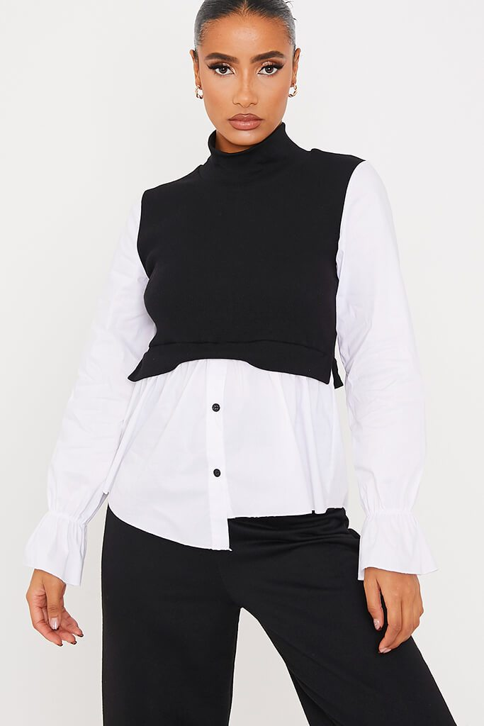Black Ribbed High Neck Top With Contrast Sleeve