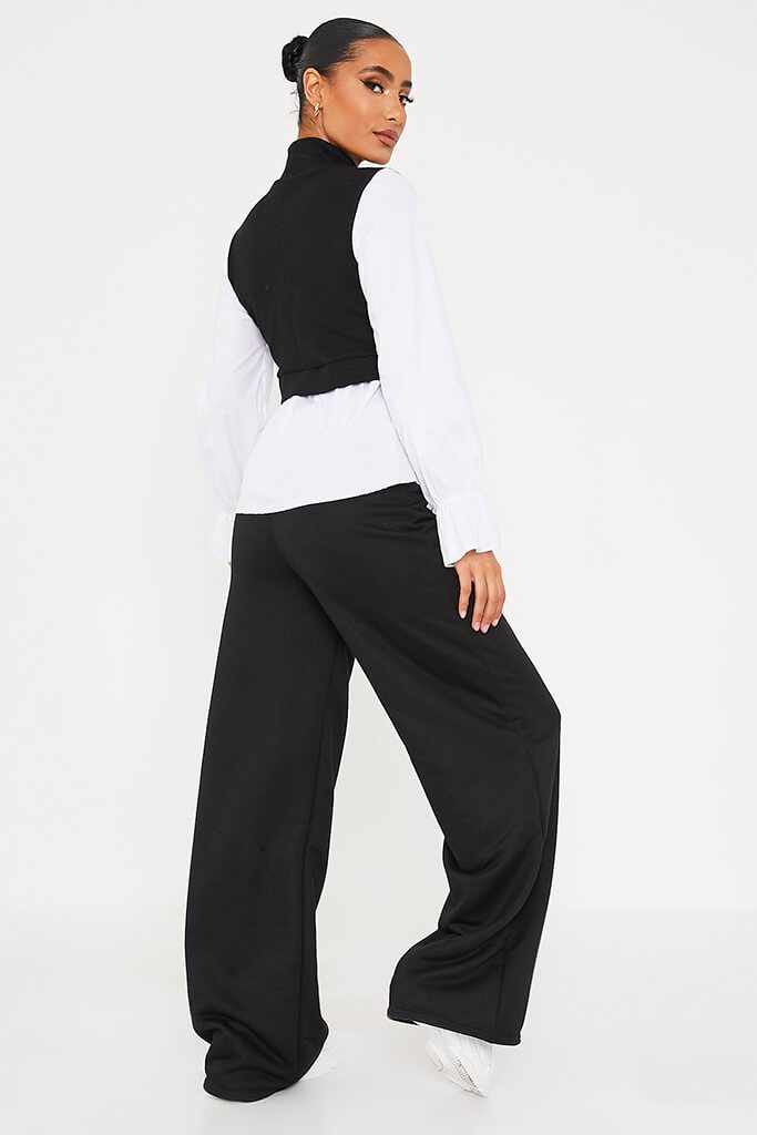 Black Ribbed High Neck Top With Contrast Sleeve view 4