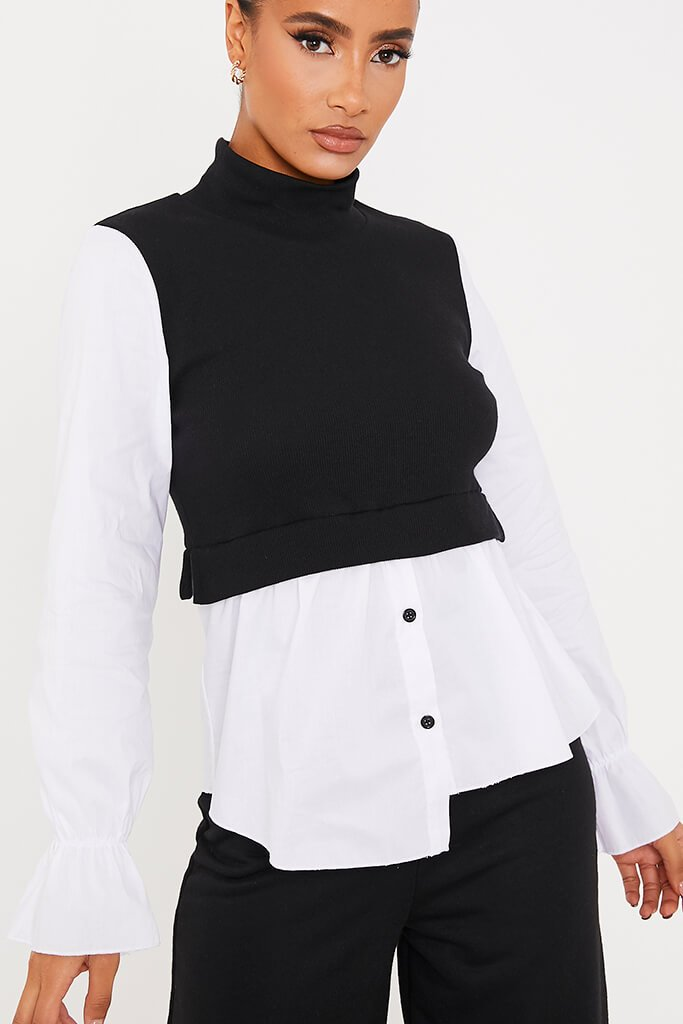 Black Ribbed High Neck Top With Contrast Sleeve view 5