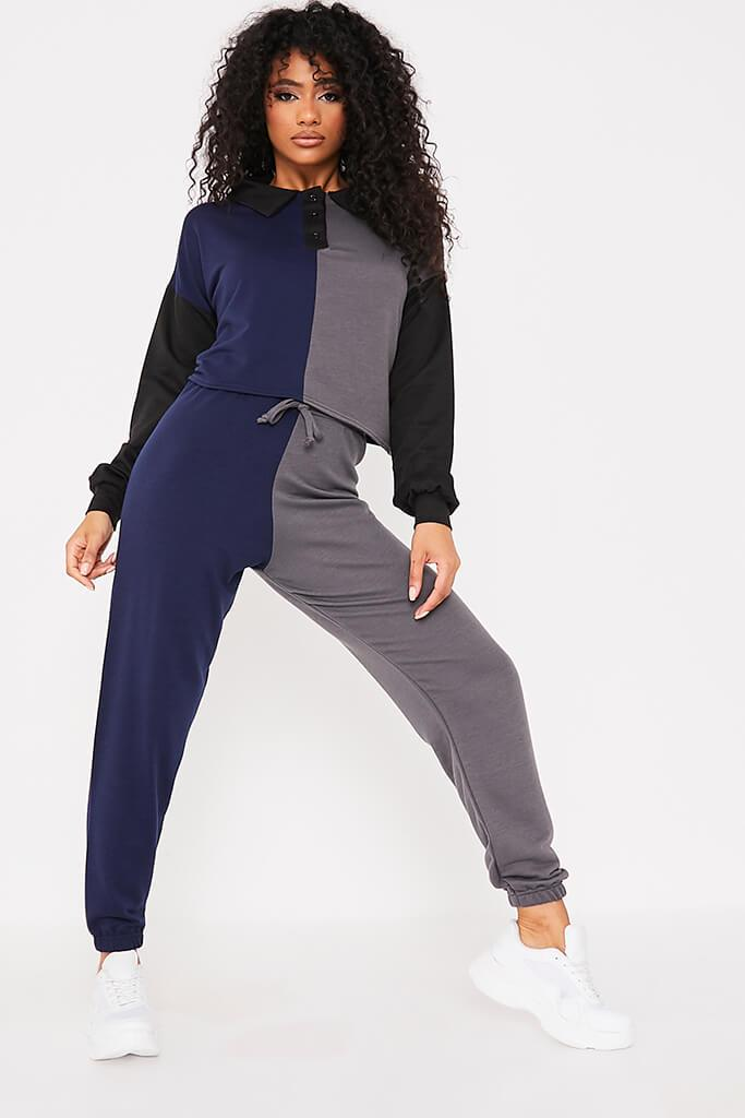 Grey Marl Colour Block Polo Top & Jogger Set