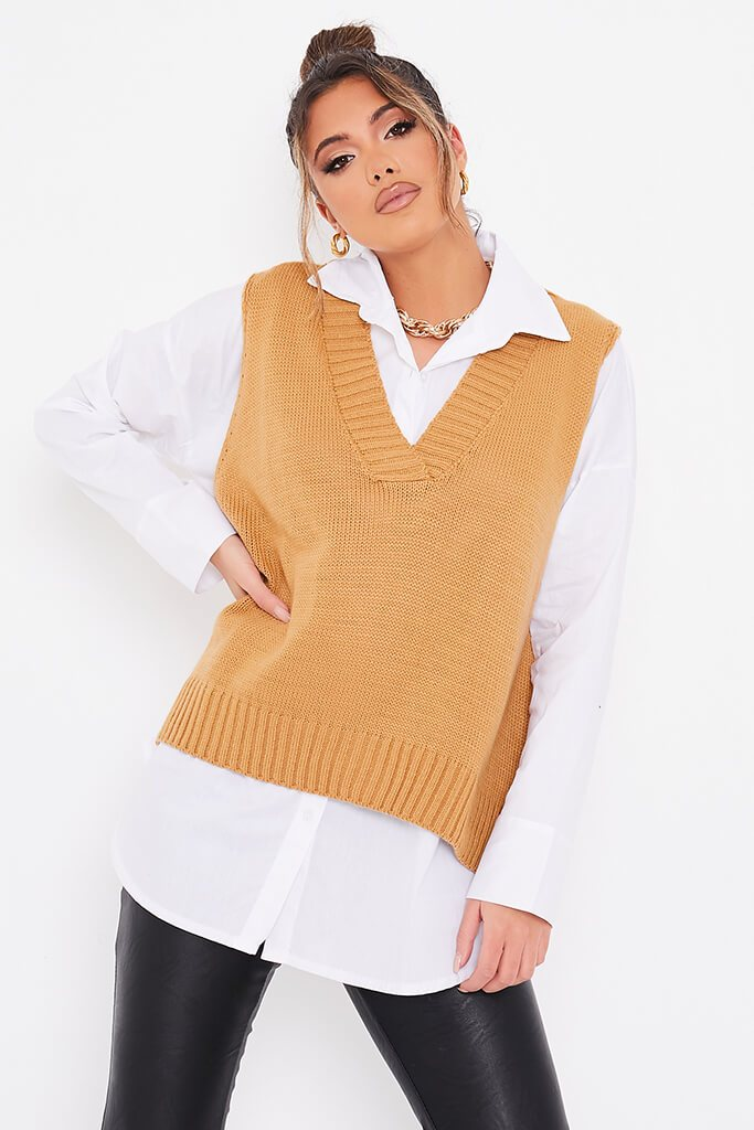 Camel Knitted Vest With Undershirt