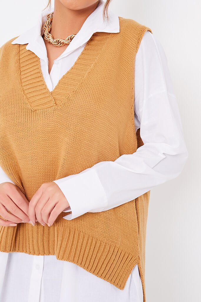 Camel Knitted Vest With Undershirt view 5