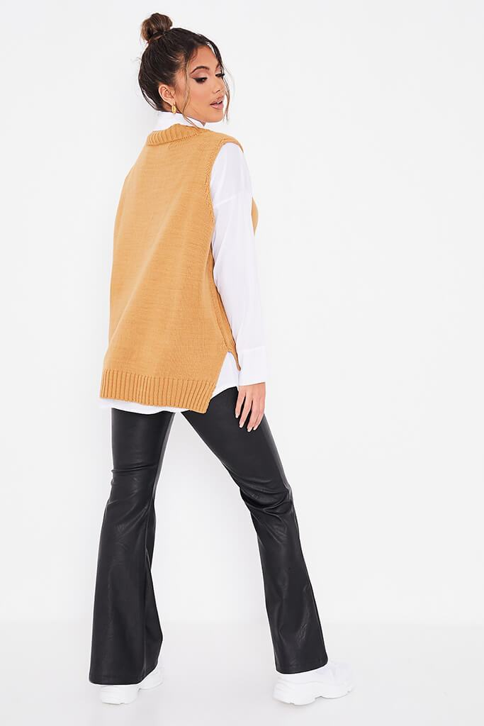 Camel Knitted Vest With Undershirt view 4