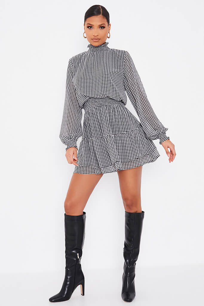 Black Woven Dogstooth Long Sleeve Skater Dress view 2