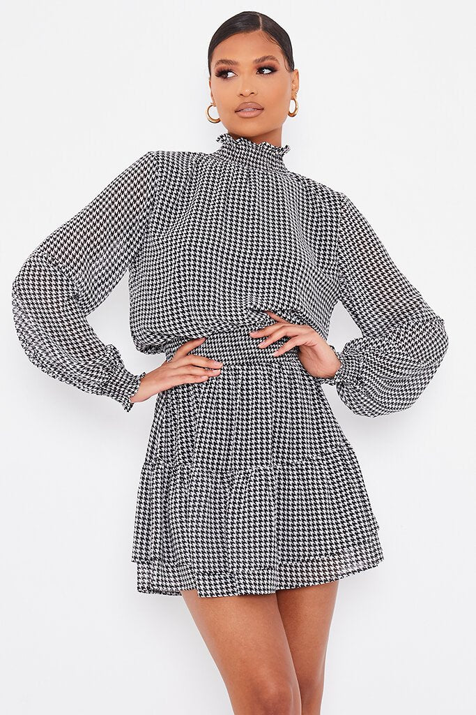 Black Woven Dogstooth Long Sleeve Skater Dress