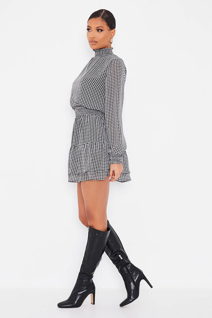 Black Woven Dogstooth Long Sleeve Skater Dress view 3