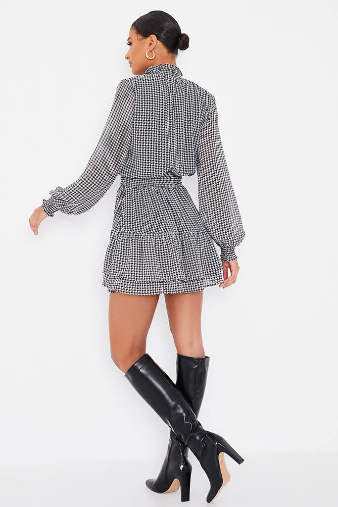 Black Woven Dogstooth Long Sleeve Skater Dress view 4