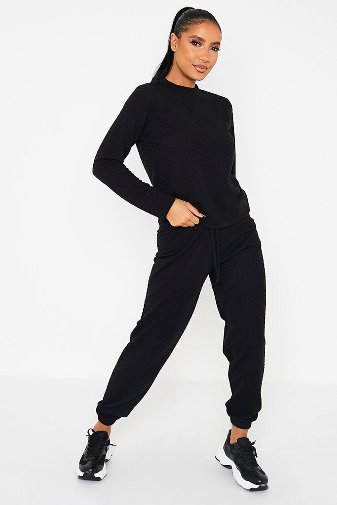 Black Quilted Long Sleeve Top & Jogger Set