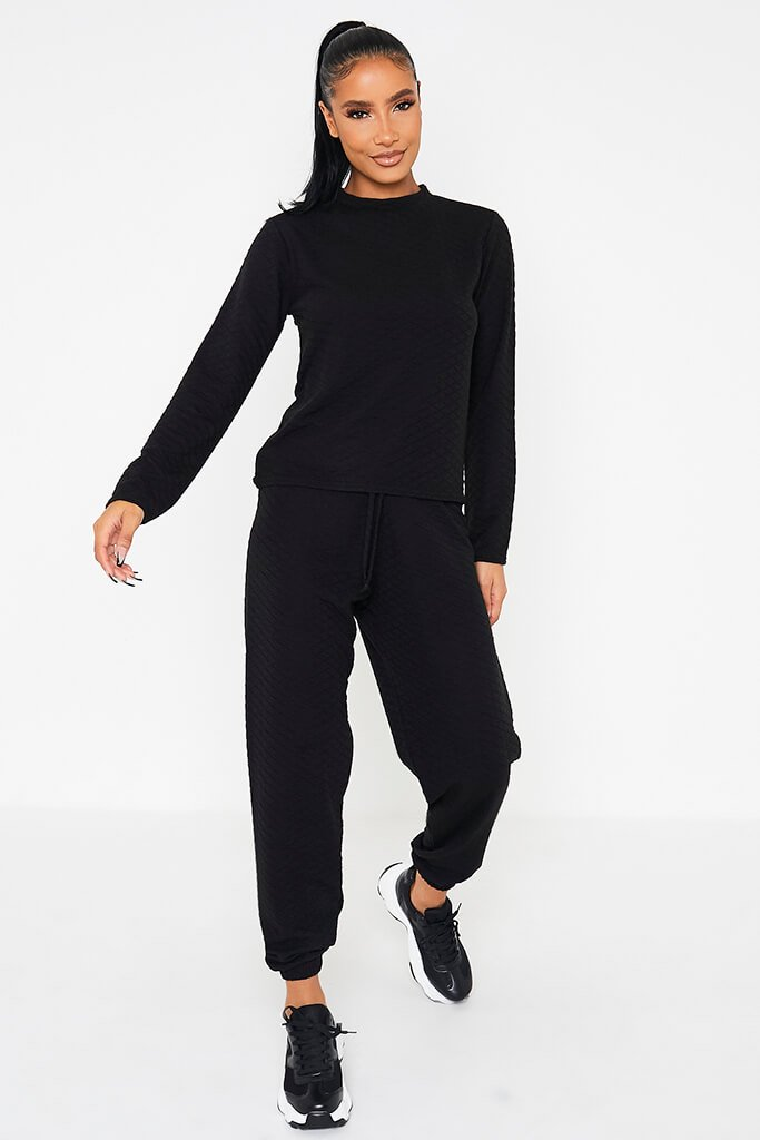 Black Quilted Long Sleeve Top & Jogger Set view 2