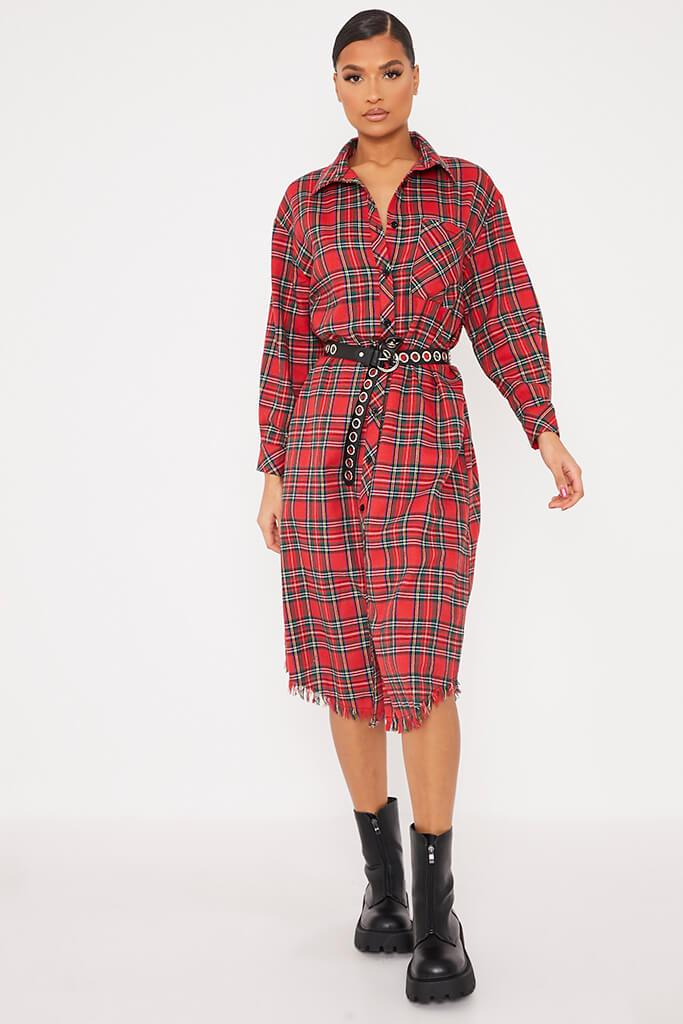 Red Woven Check Print Fringe Shirt Dress view 2