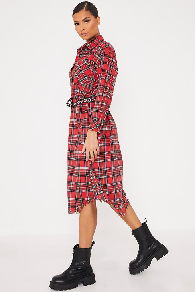 Red Woven Check Print Fringe Shirt Dress view 3