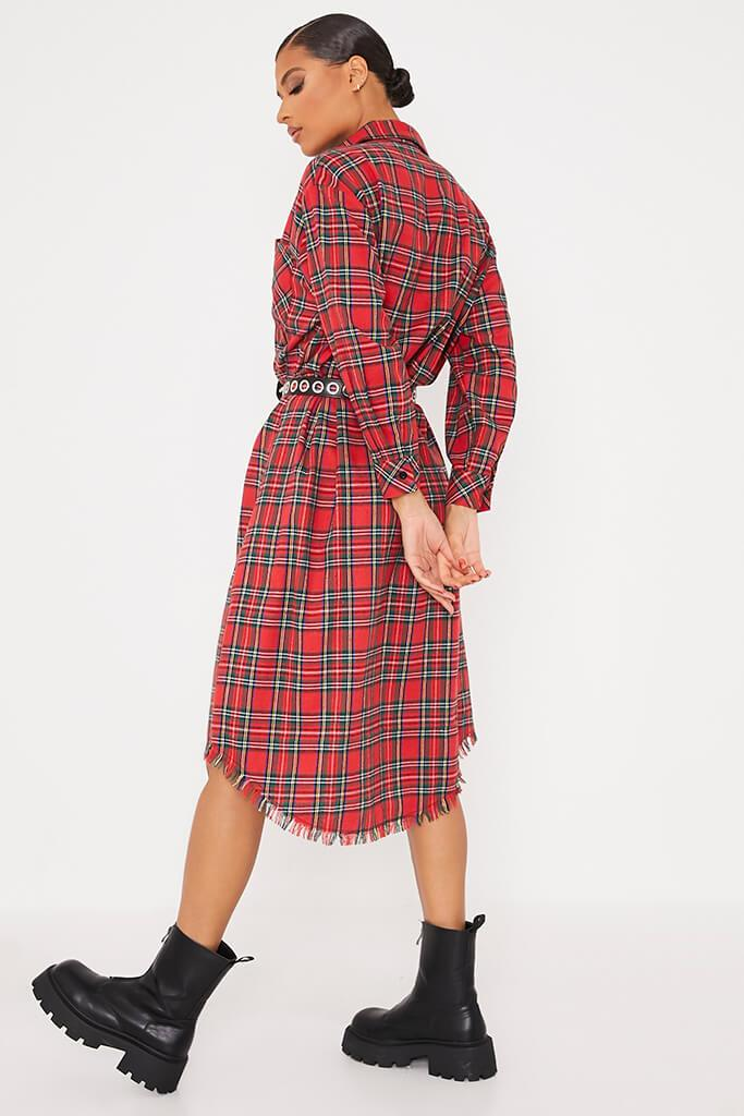 Red Woven Check Print Fringe Shirt Dress view 4