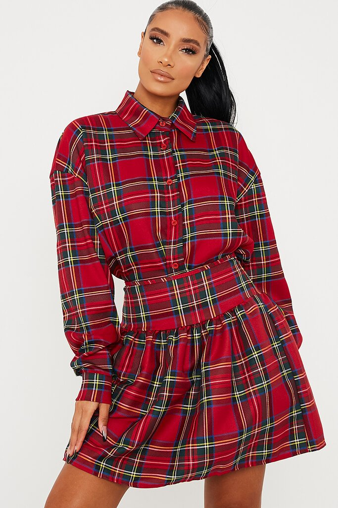 Red Frill Detail Checked Skirt