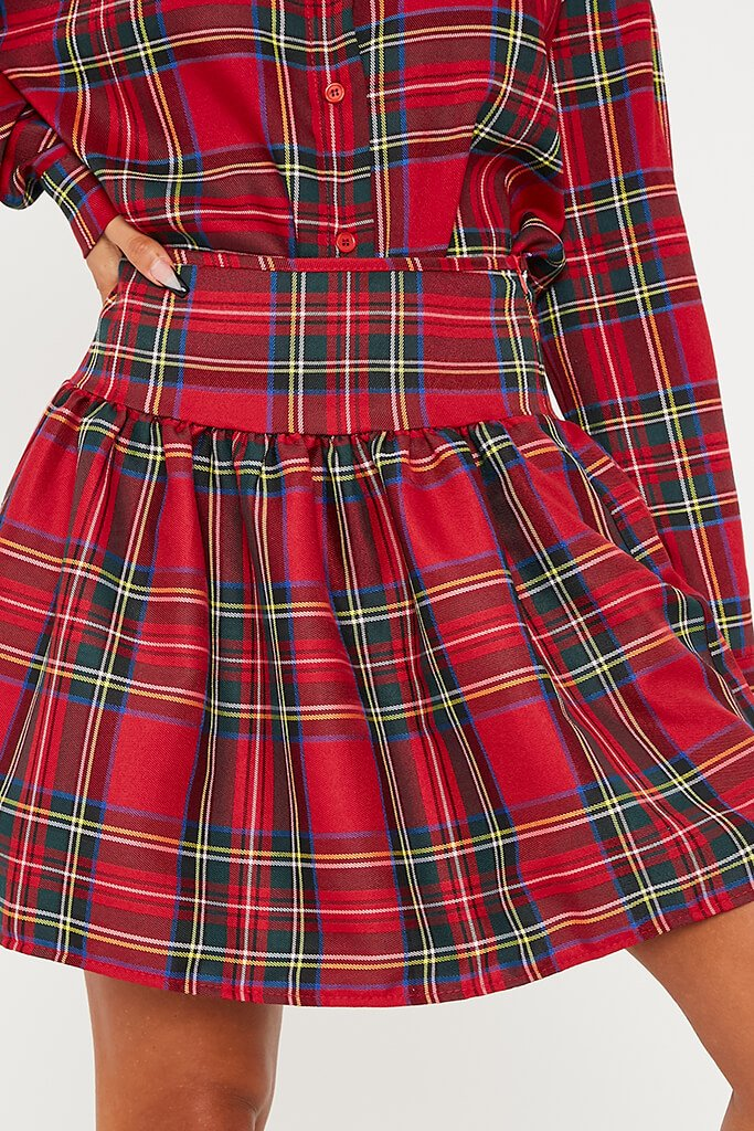Red Frill Detail Checked Skirt view 5