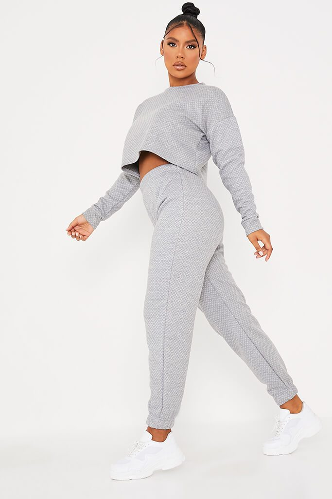 Grey Quilted Crop Sweatshirt And Jogger Set view 3