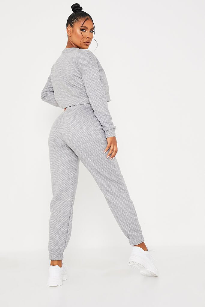 Grey Quilted Crop Sweatshirt And Jogger Set view 4