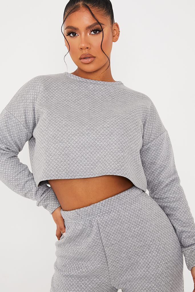 Grey Quilted Crop Sweatshirt And Jogger Set view 5